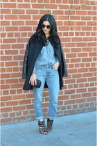 black Finders Keepers coat - blue Gap jeans - blue JCrew shirt