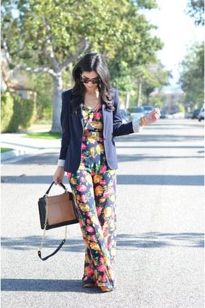 hot pink floral Lush jumper - navy Zara blazer - brown Sole Society bag