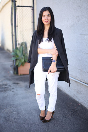 black Sheinside blazer - white Dailylook jeans - black Marc by Marc Jacobs bag