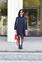 black Zara boots - black Zadig & Voltair dress - ruby red Celine bag