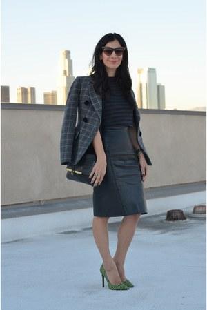 black vintage skirt - charcoal gray Moschino blazer - black Marc Jacobs bag