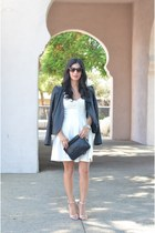 white patterson j kincaid dress - black VANESSA BRUNO jacket - black Chanel bag