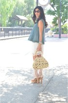 ivory Zara skirt - light yellow pineapple vintage bag