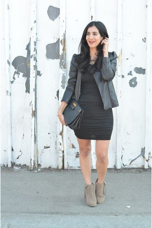 black Splendid dress - dark khaki Dolce Vita boots - black VANESSA BRUNO jacket