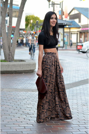 dark brown palazzo vintage pants - crimson vintage Cartier bag