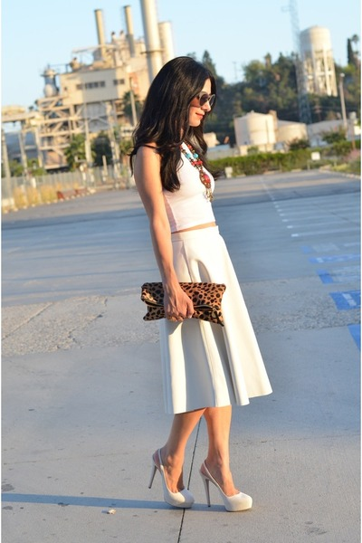 white crop top asos top - brown Clare Vivier bag - white Zara skirt