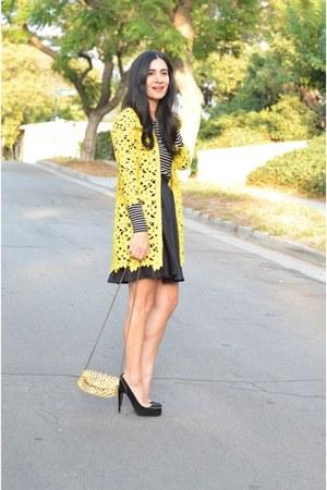 mustard Darling coat - black vintage skirt - black asos top