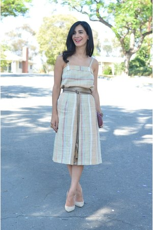 beige vintage top - beige vintage skirt - light brown Jimmy Choo heels