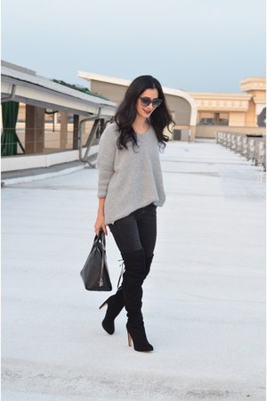 black over the knee sam edelman boots - black madewell jeans