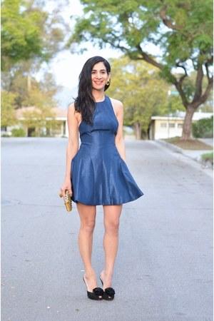 black vintage earrings - blue keepsake dress - black Hale Bob heels