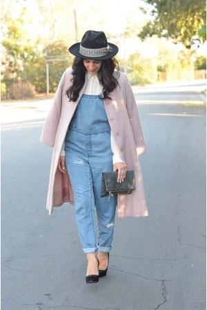 black Anthropologie hat - light pink Valentino coat - blue obey romper