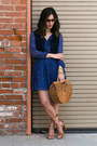 Navy-banana-republic-dress-bronze-vintage-bag-camel-report-heels