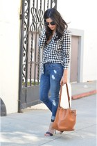 black JCrew shirt - blue Old Navy jeans - bronze Louis Vuitton bag