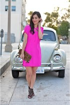 hot pink Eli Noir Designs dress - brown Clare Vivier bag