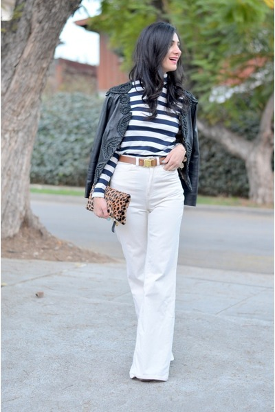 brown Clare Vivier bag - cream American Apparel pants - navy JCrew top