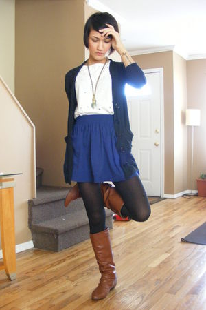 black cardigan - white H&M top - blue Forever 21 skirt - stockings - brown boots