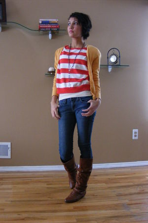 red Forever 21 top - orange H&M cardigan - brown no name boots