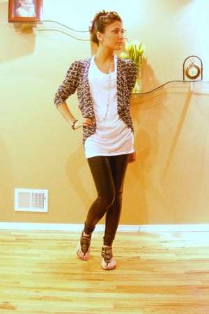 black leggings - gray Forever 21 cardigan - silver accessories - white Forever 2
