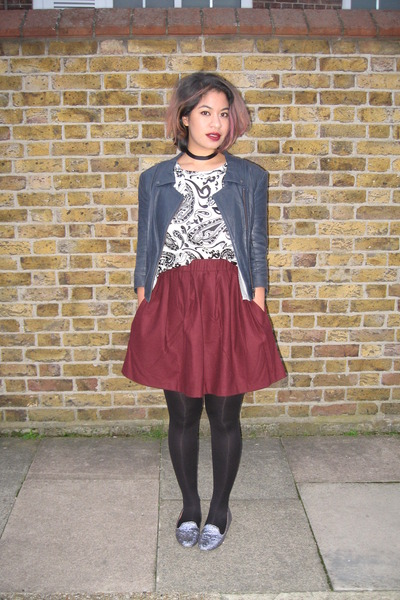 Monki skirt - leather Theyskens Theory jacket - silk Topshop Boutique t-shirt