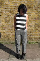 leather vintage pants - Zara boots - stripe Topshop top