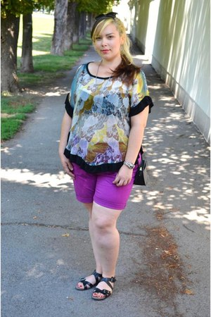 ivory sheer thrifted top - purple H&M shorts - black Tamaris sandals