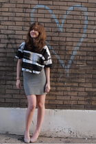 black Topshop top - gray BDG skirt - gray Aldo shoes