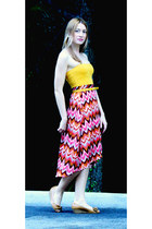 coral vintage skirt - mustard Only shirt - mustard H&M belt