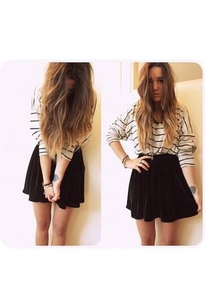 white striped Topshop top - black velvet American Apparel skirt