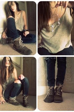 heather gray H&M vest - navy allsaints jeans - dark brown allsaints boots