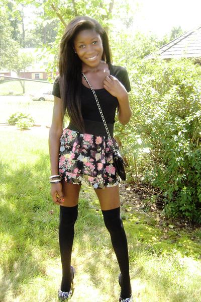 black Forever 21 shirt - pink Forever 21 skirt - black Forever 21 tights - black