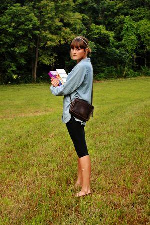 brown coach - brown Minnatonka Moccasins shoes - black thrifted leggings - blue