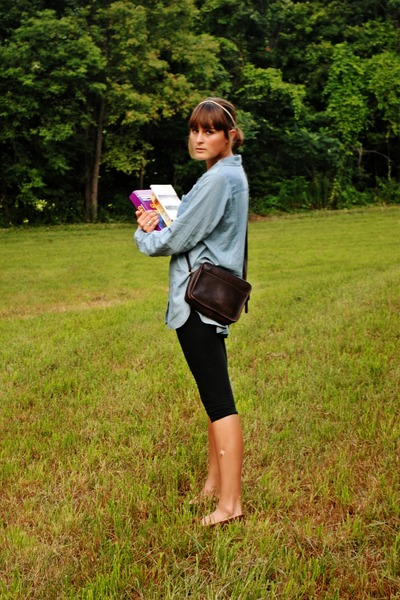 brown coach - brown Minnatonka Moccasins shoes - black thrifted leggings - blue