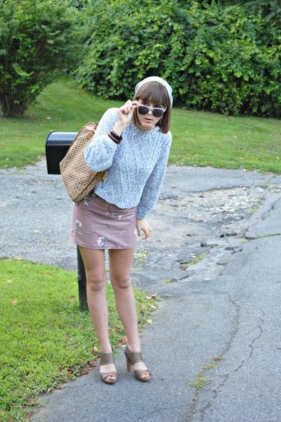 brown Diane Von Furstenberg purse - beige franco sarto shoes - silver thrifted s