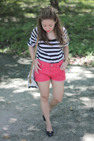 ferragamo flats - Levis shorts - stripes Issue top