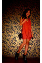 black HK Brand boots - orange dress - black Chanel bag - gold vintage mixed acce
