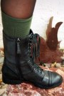 Forever-21-dress-gray-forever-21-cardigan-green-unknown-brand-socks-black-