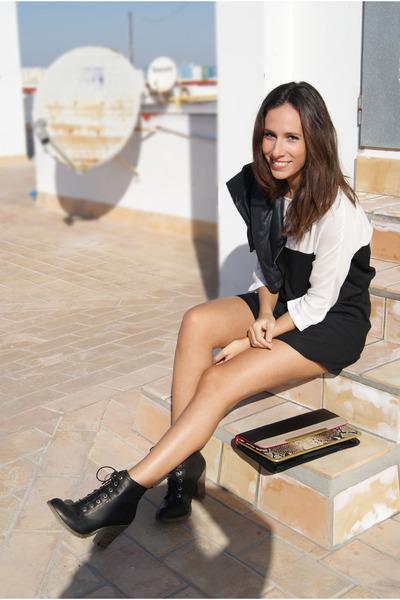 black Stradivarius boots - black bicolor Stradivarius dress