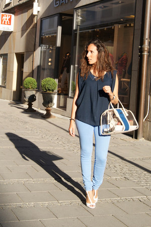 white Zara sandals - light blue Zara jeans - navy Bimba&Lola bag - H&M necklace