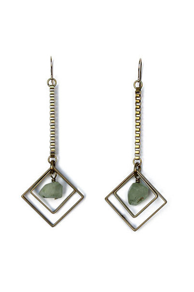 brass prehnite earrings