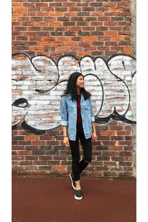 sky blue asos jacket - black shoes - black Missguided leggings - maroon top