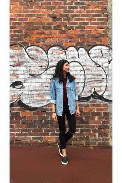 sky blue asos jacket - black shoes - black Missguided leggings - maroon top