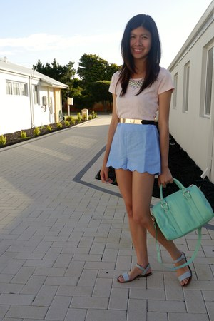asos belt - Kmart bag - sky blue asos shorts - light pink Factorie top