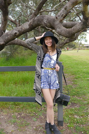 Target boots - Monki hat - asos necklace - Boohoo romper - cotton on cardigan