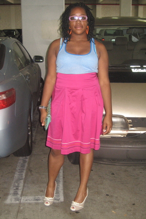 blue Old Navy top - pink wal-mart skirt - beige Target shoes - blue vintage purs