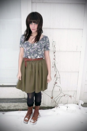 Urban Outfitters shirt - Dr Martens boots - thrifted belt - Self Made skirt