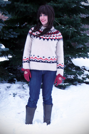 dark khaki Wanted boots - ivory handknit Tommy Hilfiger sweater - red modcloth g