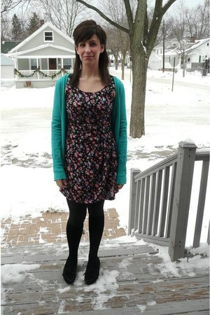 turquoise blue Express cardigan - black thrifted vintage jumper - black Minneton