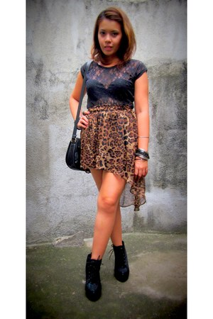 skirt - Forever 21 boots - bag - Aldo bracelet - lace top blouse
