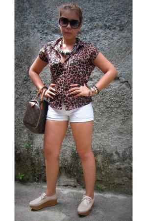 shoes - shorts - sunglasses - necklace - blouse - bracelet