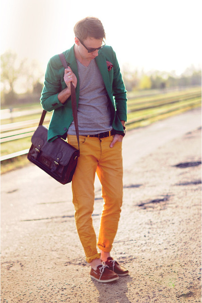 brown Timberland shoes - dark green Zara blazer - dark brown asoscom bag